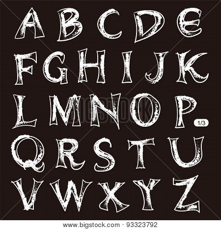 Hand drawn crayon style letters