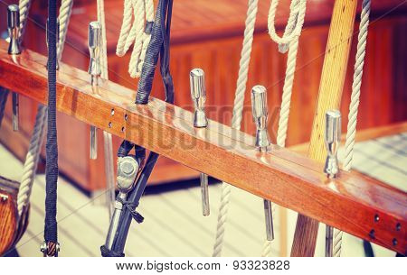 Retro Style Wooden Sailing Ship Equipment.