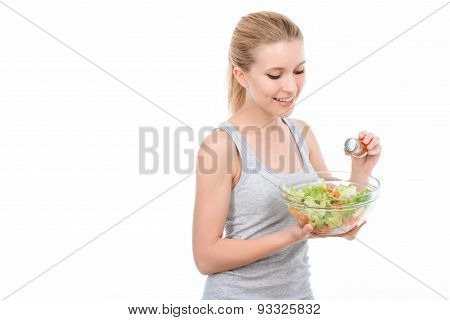 Beautiful girl and healthy diet