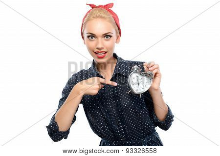 Pin up girl with a clock