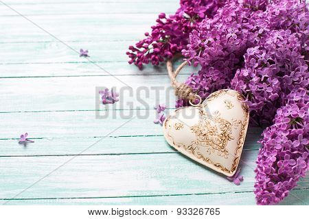 Background Splendid Lilac Flowers And Decorative Heart