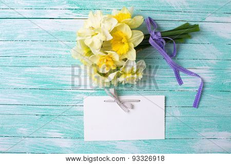 Bunch Of Fresh  Spring  Flowers And Tag
