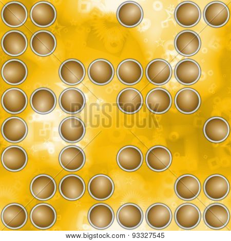 Abstract Background With Scattered Circular Elements In Yellow