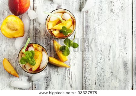 Glasses Of Peach Iced Tea. Top View