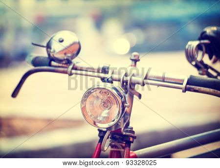 headlight of old bicycle