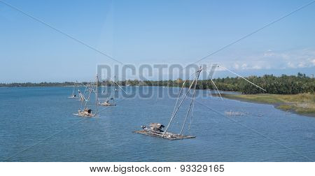 Rustic Fishing Rafts Near Luzon Shore, Philippines