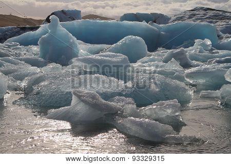 Detail Of Blue Sea Ice Floating In Jokulsarlon