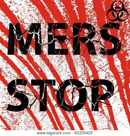Background Bloody Wall Stop Mers Corona Virus Sign.  Vector Illu