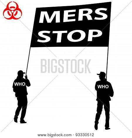 People Carry A Poster Stop Mers Corona Virus Sign.  Vector Illus