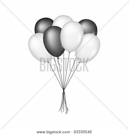 Glossy balloons in black and white design