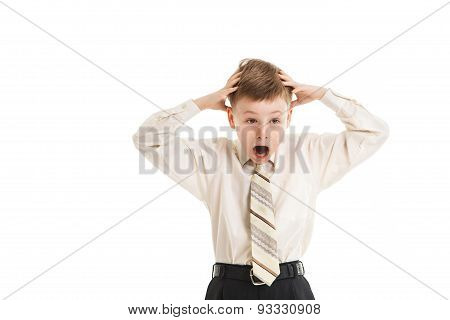 Boy With A Necktie Surprised Isolated
