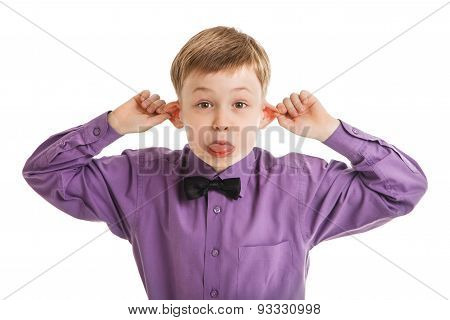 Funny Portrait Of Young Boy With A Bow-tie Isolated
