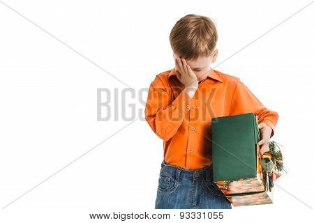 Young Boy With A Present Box Disappointed