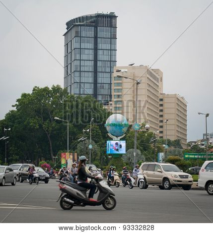 Motorbikes Traffic On The Street In Saigon