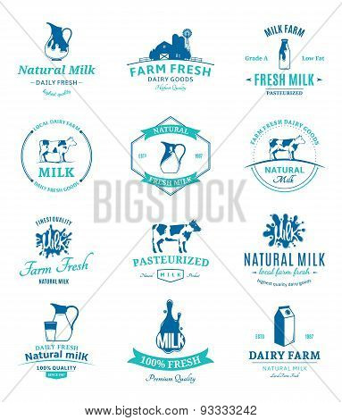 Set of Vector Milk Labels and Design Elements
