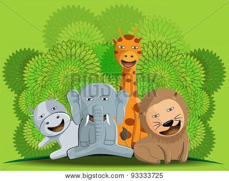 Illustration Design Of Cute Jungle Animal Group, Vector