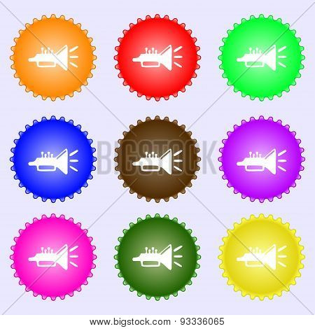 Trumpet, Brass Instrument Icon Sign. A Set Of Nine Different Colored Labels. Vector