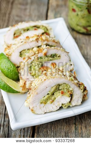 Guacamole Stuffed Crumbs Lime Chicken