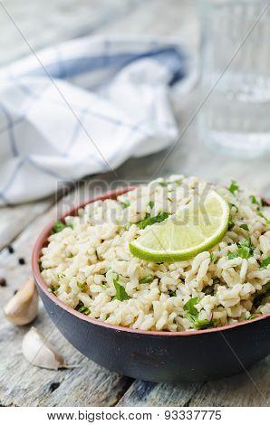 Cilantro Lime Garlic Brown Rice