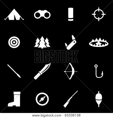 Vector white hunting icon set