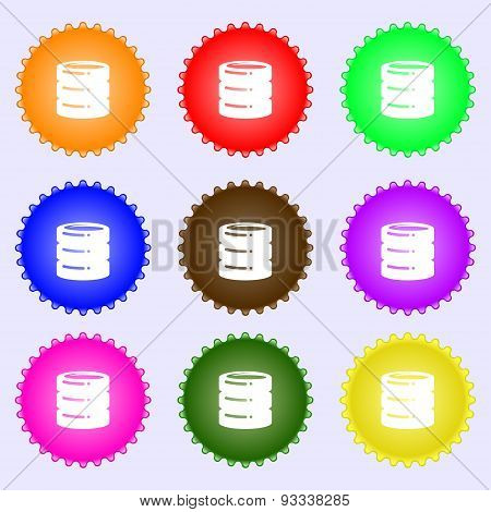 Hard Disk Icon Sign. A Set Of Nine Different Colored Labels. Vector