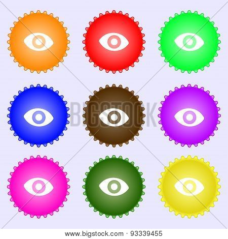 Sixth Sense, The Eye Icon Sign. A Set Of Nine Different Colored Labels. Vector