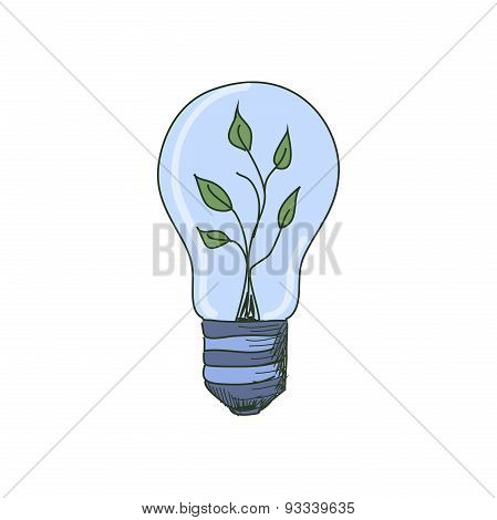 Colored doodle Light Bulb with sprout inside