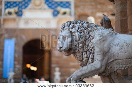 Medici Lion sculpture. Florence, Italy
