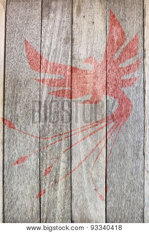 phoenix bird on wood