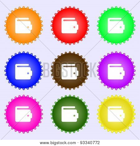 Purse Icon Sign. A Set Of Nine Different Colored Labels. Vector