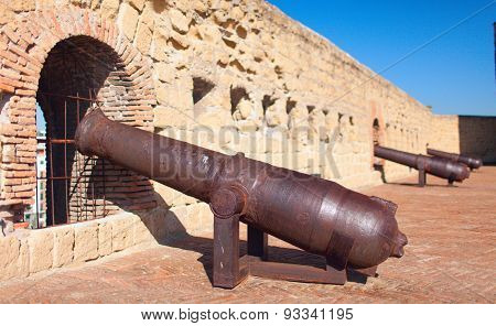Cannons of Castel dell'Ovo (Egg Castle) Naples, Italy.