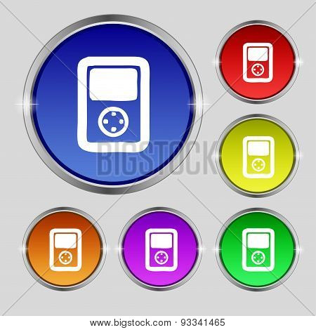 Video Game Console Icon Sign. Round Symbol On Bright Colourful Buttons. Vector