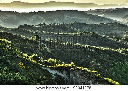 Hdr Image Of Landscape Near Sunrise Bagnoregio, Lazio