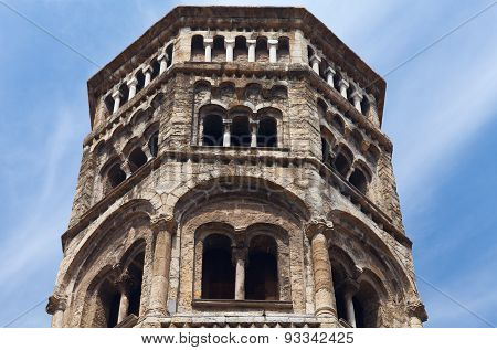 Bell tower, San Donato church. Genoa, Italy