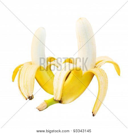 Two fresh bananas composition over white