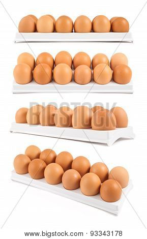 Dozen of eggs in a case isolated