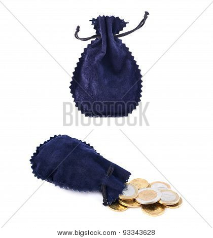 Blue suede pouch full of coins