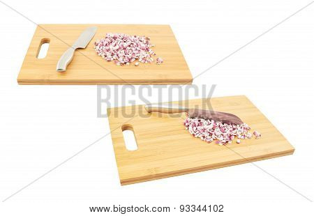 Cut in pieces red onion over cutting board