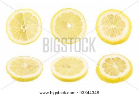 Round lemon slices isolated