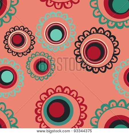 Flowers. Circles. Pattern. Scribble. Vector seamless illustration with pictures of flowers, circles.