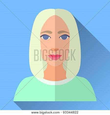 Fashionable Young Woman With Bob Haircutr, Flat Icon With Shadow