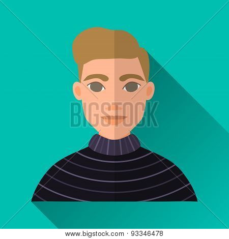 Elegant Hipster Man In Sweater, Square Flat Icon