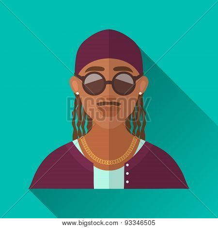 African American Rapper, Square Flat Icon