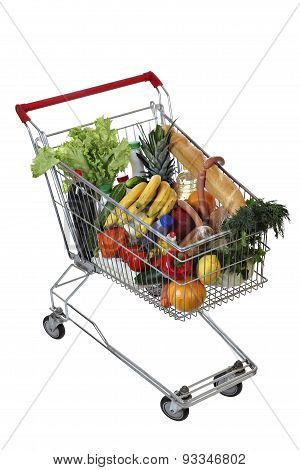 Filled Foodstuffs Shopping Cart Isolated On White Background, No Body,