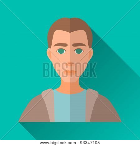 Young Man, Square Flat Icon