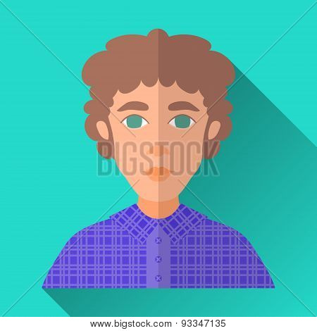 Curly-haired Young Man In Check Shirt, Square Flat Icon