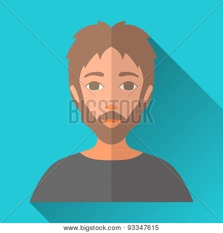 Man With Beard And Moustache, Square Flat Icon