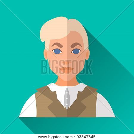 Young Blonde Aristocratic Man , Square Flat Icon