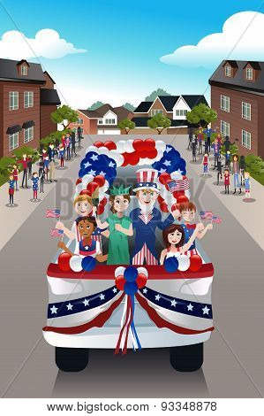 Kids In A Parade Celebrating Fourth Of July