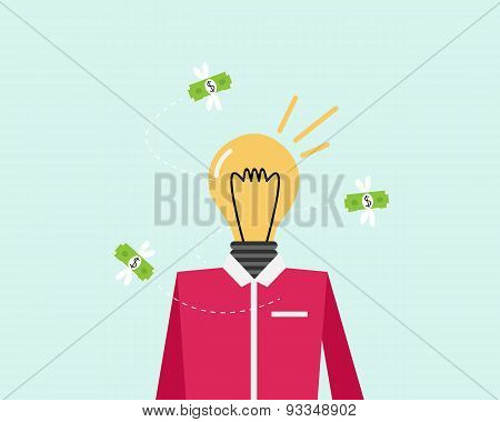 Money fly into the light emanating from the idea. Vector illustration